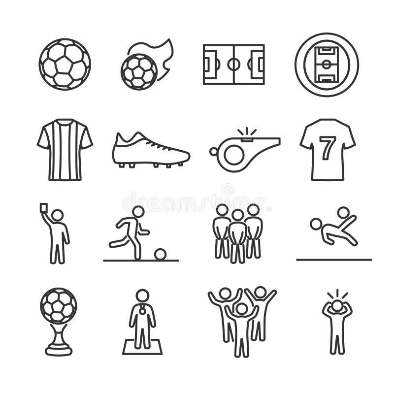 Línea iconos del fútbol del sistema de imagen del vector libre illustration