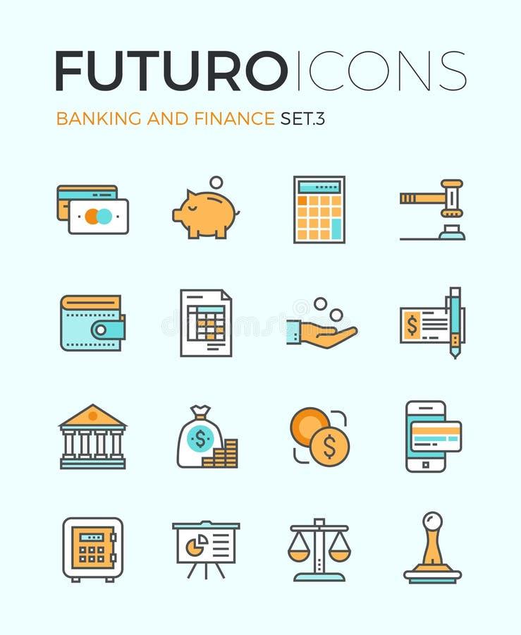 Línea iconos del futuro de la actividad bancaria y de las finanzas stock de ilustración
