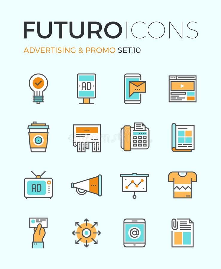 Línea iconos del futuro de la publicidad stock de ilustración