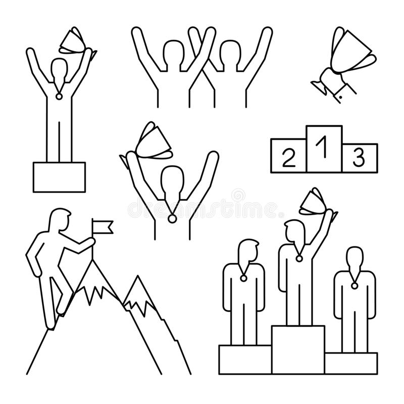Línea iconos del ganador libre illustration