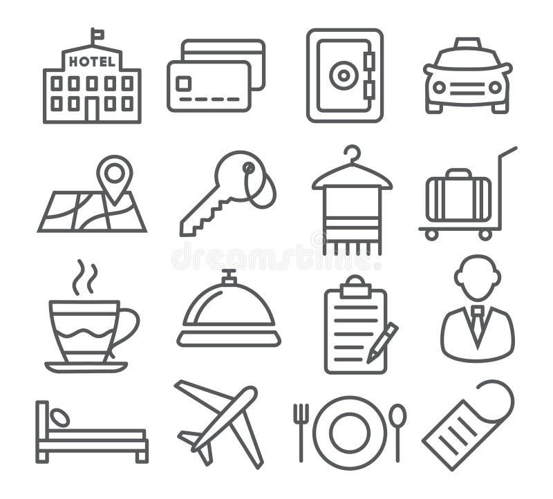 Línea iconos del hotel stock de ilustración