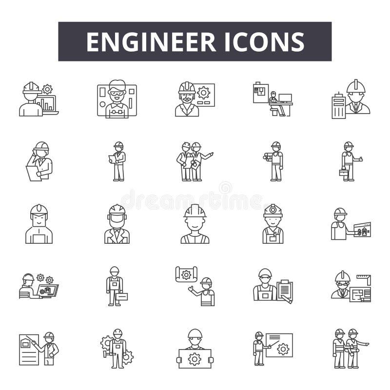 Línea iconos del ingeniero para la web y el diseño móvil Muestras Editable del movimiento Ejemplos del concepto del esquema del i libre illustration
