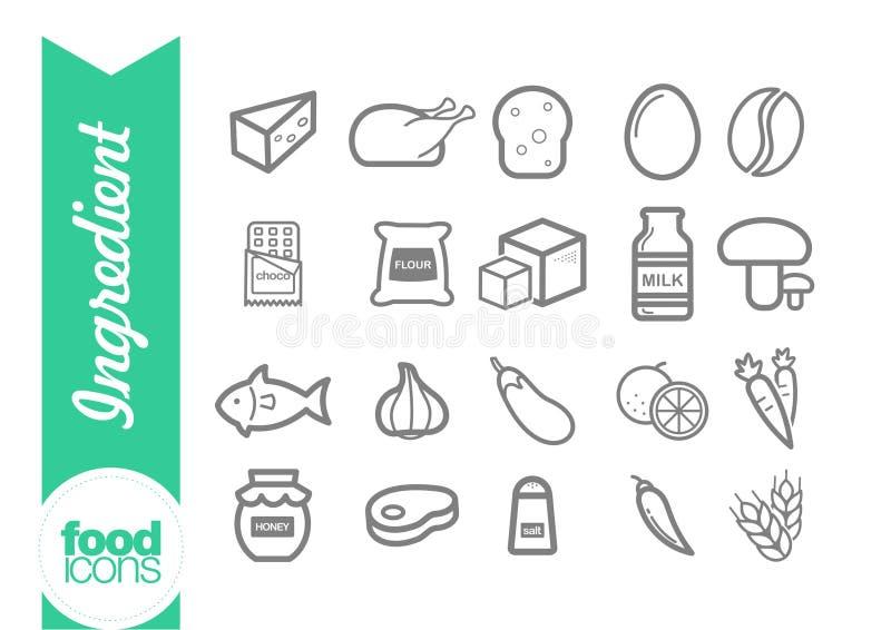 Línea iconos del ingrediente stock de ilustración
