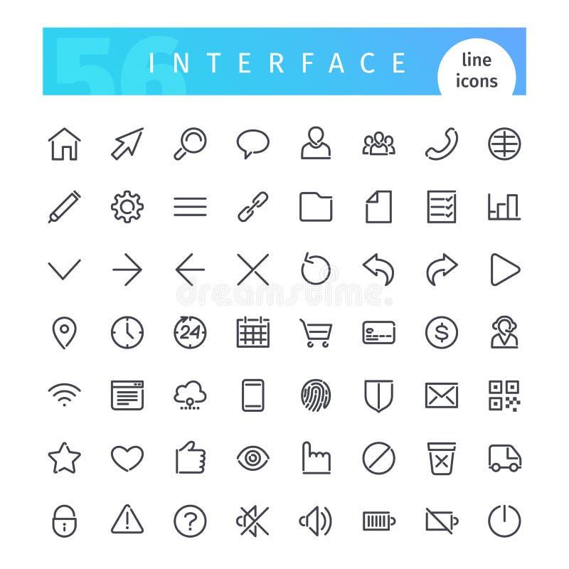 Línea iconos del interfaz fijados ilustración del vector