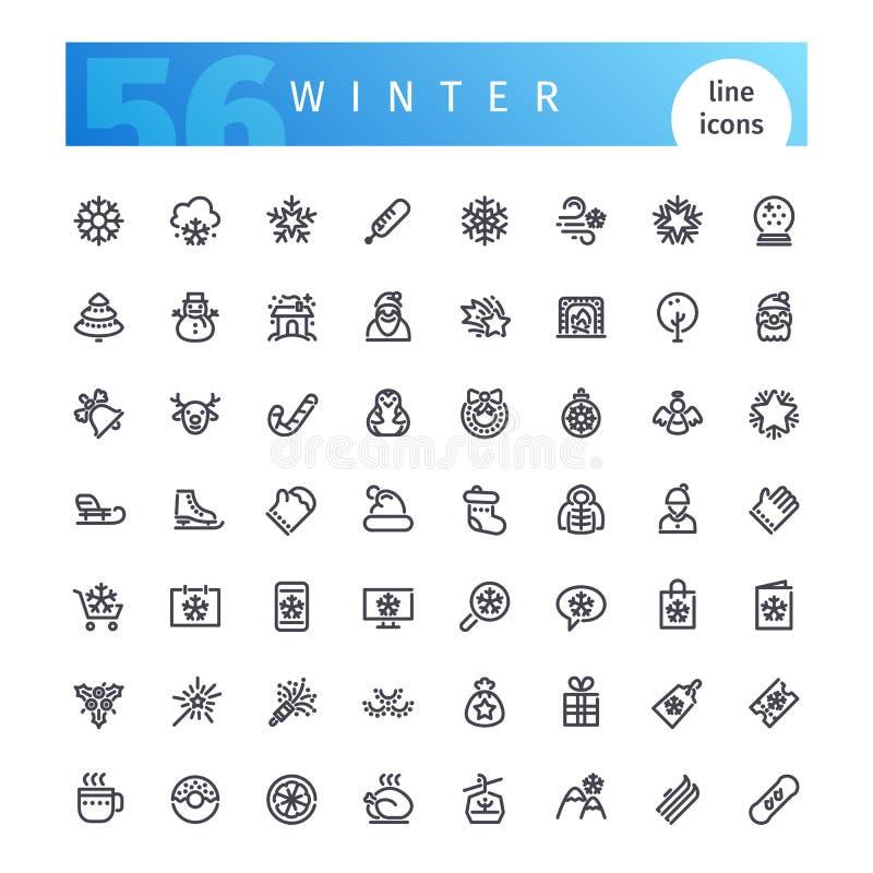 Línea iconos del invierno fijados stock de ilustración