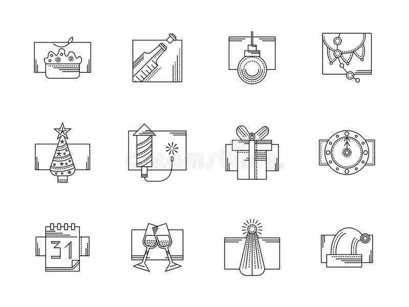 Línea iconos del negro del partido del Año Nuevo fijados libre illustration