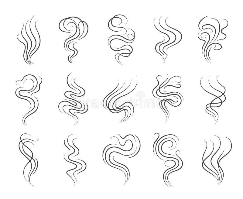 Línea iconos del olor del humo stock de ilustración