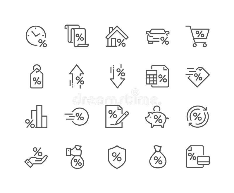Línea iconos del préstamo stock de ilustración