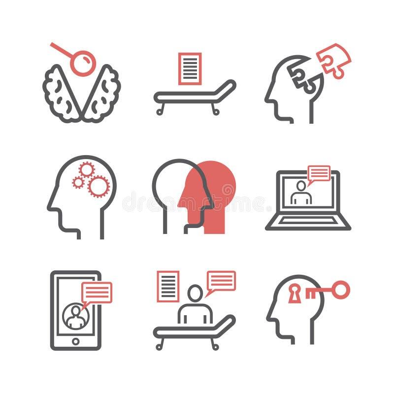 Línea iconos del psicólogo fijados Muestras conceptuales Ilustración del vector stock de ilustración