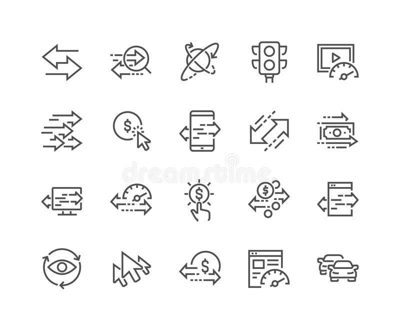 Línea iconos del tráfico ilustración del vector