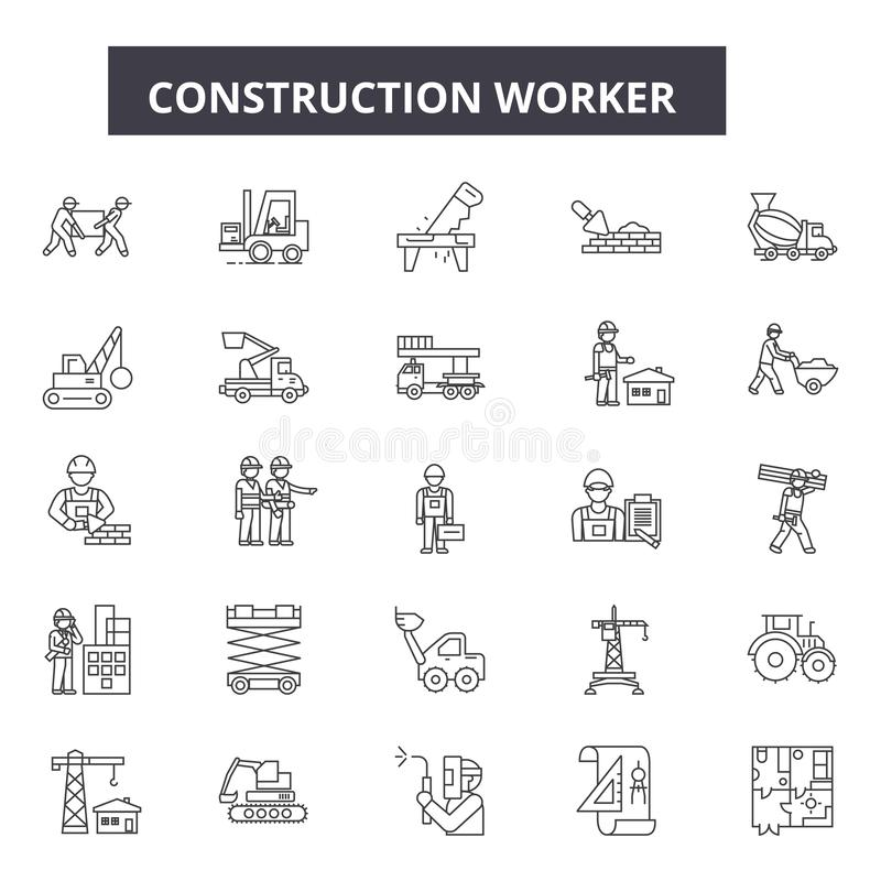 Línea iconos del trabajador de construcción para la web y el diseño móvil Muestras Editable del movimiento Concepto del esquema d ilustración del vector