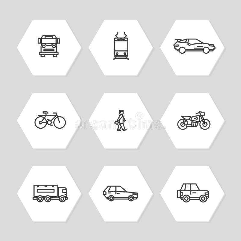 Línea iconos del transporte de la ciudad fijados - coches, tren, iconos del autobús ilustración del vector