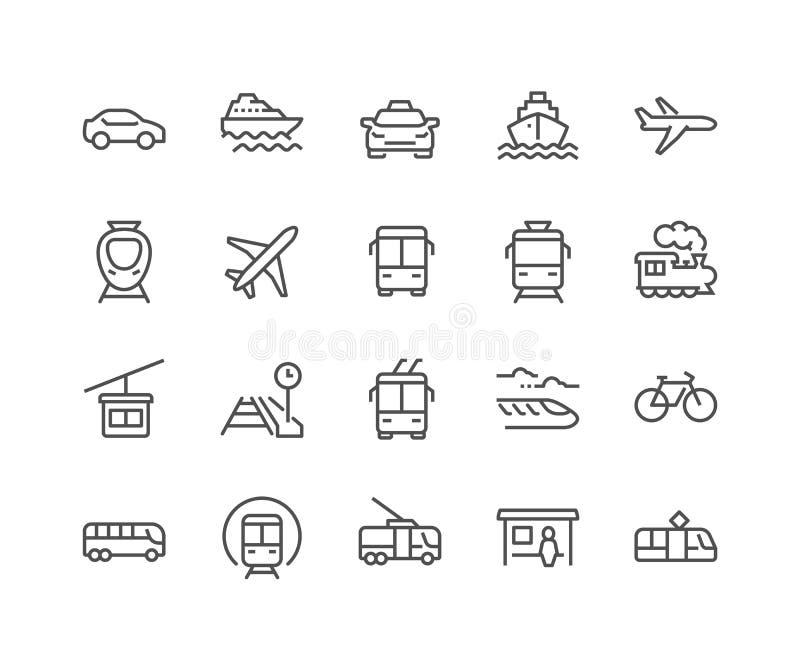 Línea iconos del transporte público libre illustration