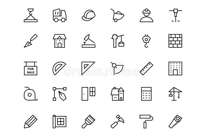 Línea iconos 1 del vector de la construcción stock de ilustración