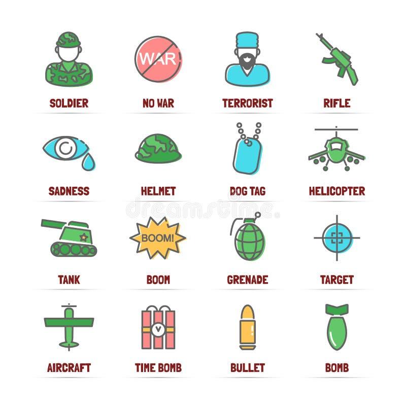 Línea iconos del vector de la guerra con colores planos stock de ilustración