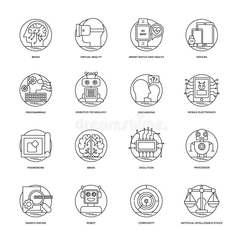 Línea iconos 3 del vector de la inteligencia artificial stock de ilustración