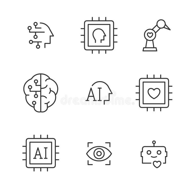 Línea iconos del vector de la inteligencia artificial libre illustration