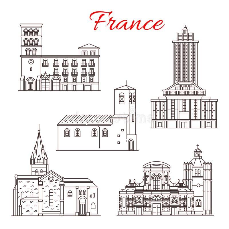 Línea iconos del vector de las señales del viaje de Francia del arte ilustración del vector