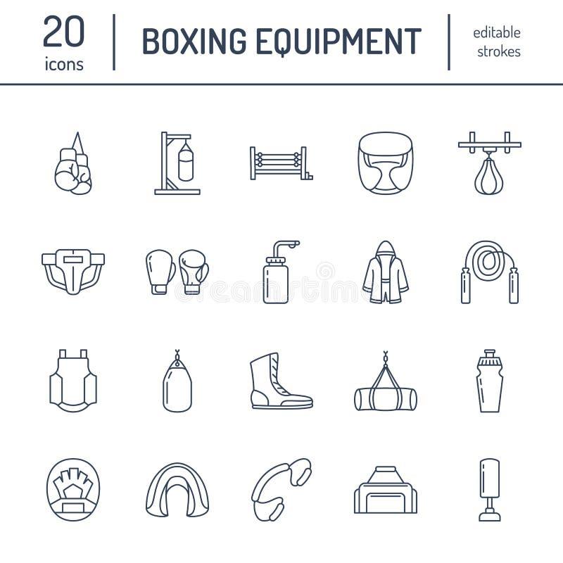 Línea iconos del vector del boxeo Punchbag, guantes del boxeador, anillo, bolsos pesados, mitones de perforación Muestras fijadas ilustración del vector