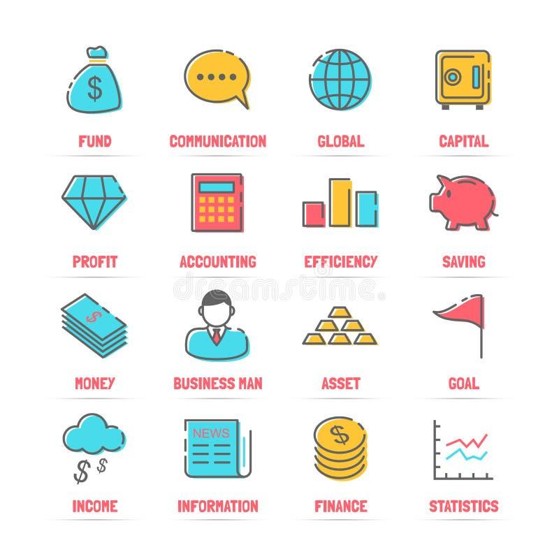 Línea iconos del vector del negocio con colores planos stock de ilustración