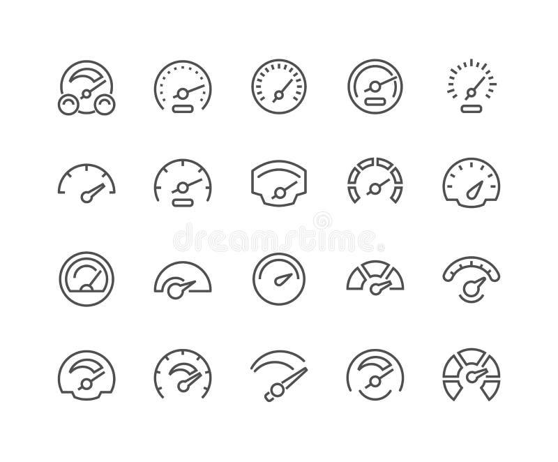 Línea iconos del velocímetro stock de ilustración