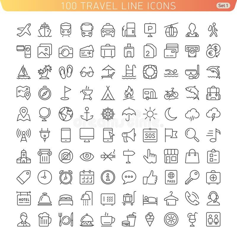 Línea iconos del viaje stock de ilustración