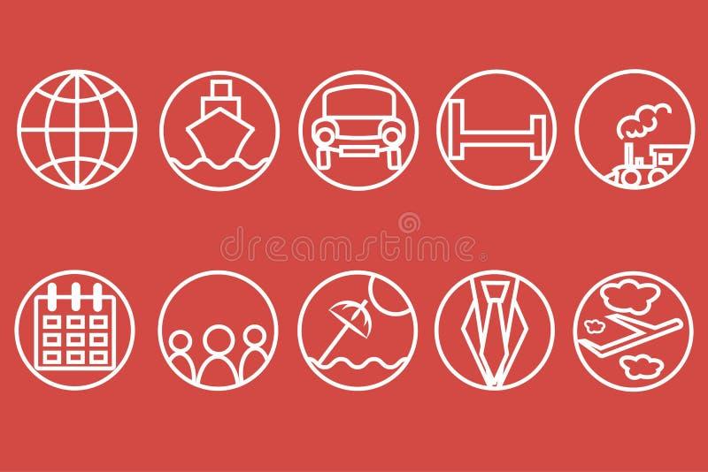 Línea iconos del viaje Esquema blanco de un tren, nave, coches, aire, trenes, paraguas en un fondo rojo stock de ilustración
