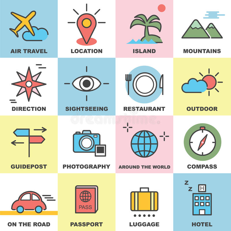 línea iconos del viaje fijados ilustración del vector