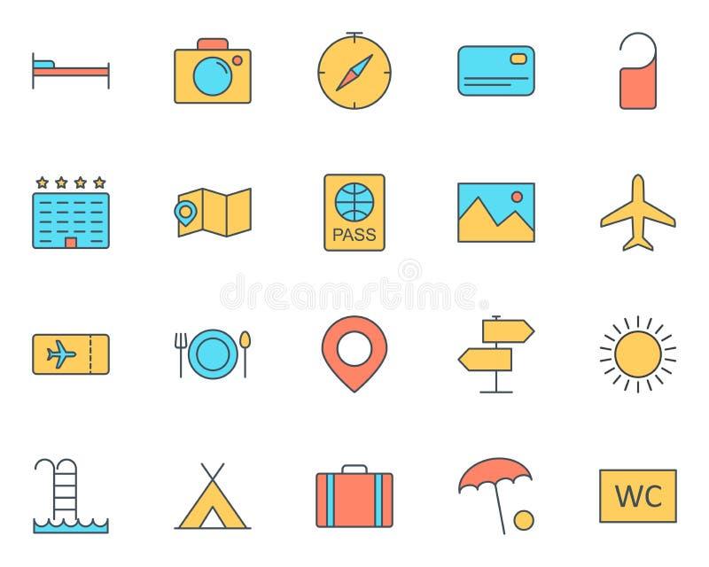 línea iconos del viaje fijados Pictograma mínimo simple 96x96 del vector ilustración del vector