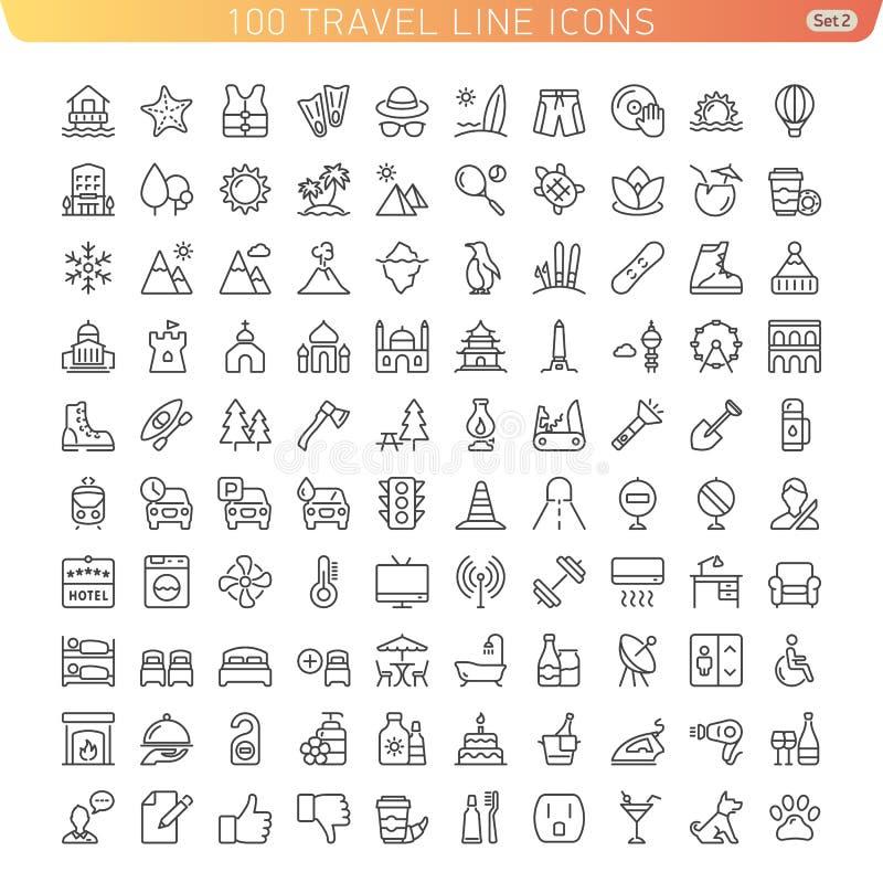 Línea iconos del viaje para el web y el móvil stock de ilustración