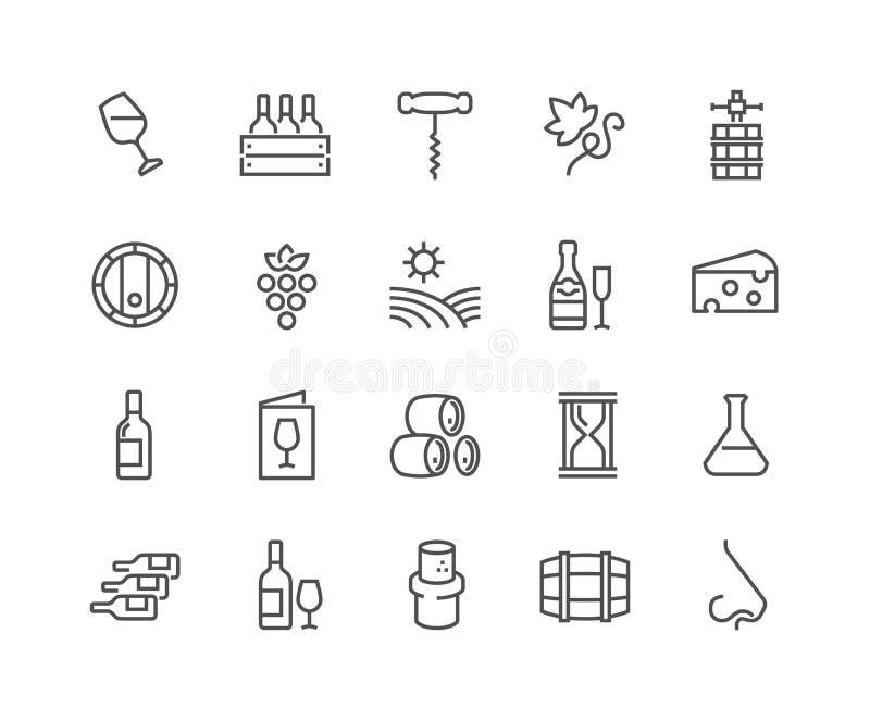 Línea iconos del vino stock de ilustración