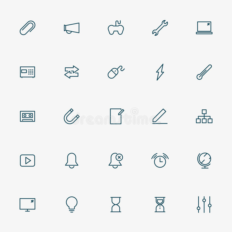 línea iconos del web 5x5 en el fondo blanco ilustración del vector