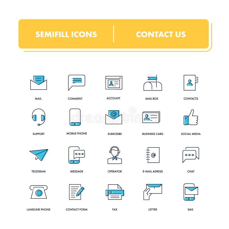 Línea iconos fijados Éntrenos en contacto con stock de ilustración