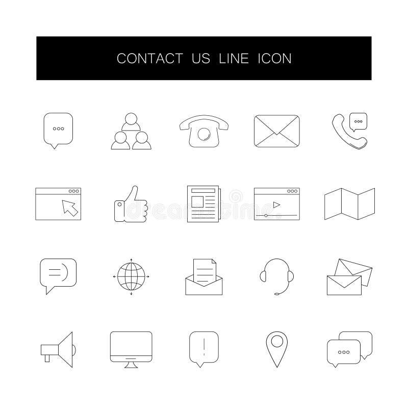 Línea iconos fijados Éntrenos en contacto con paquete libre illustration
