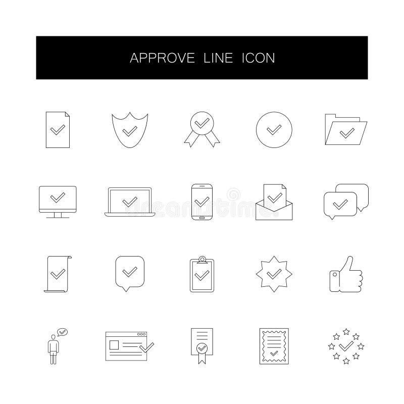 Línea iconos fijados Apruebe el paquete stock de ilustración
