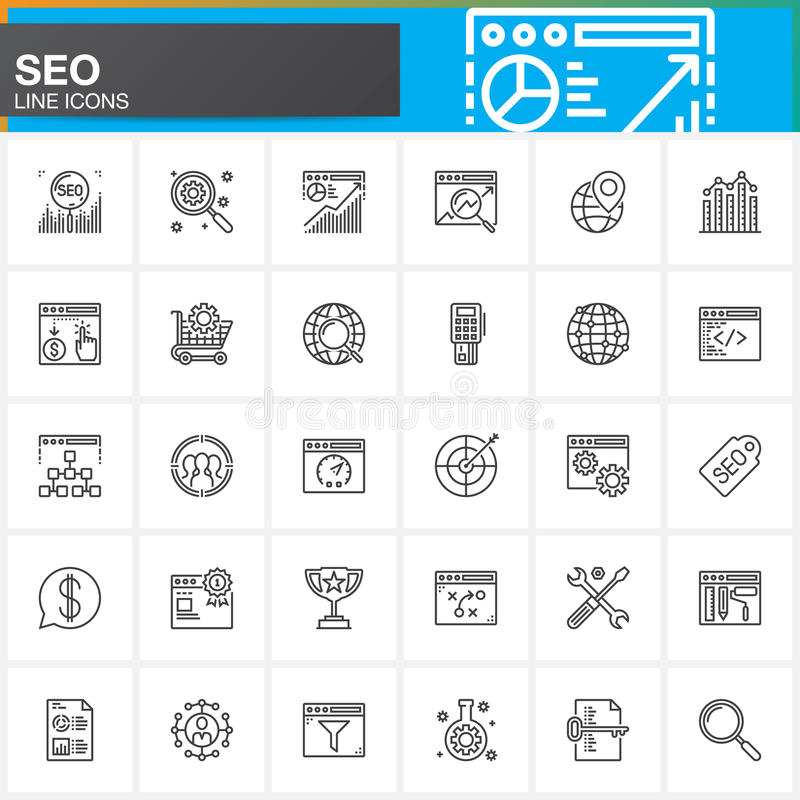 Línea iconos fijados, colección del símbolo del vector del esquema de SEO, paquete linear de la optimización del Search Engine de ilustración del vector