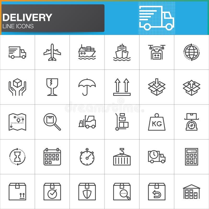 Línea iconos fijados, colección del símbolo del vector del esquema, paquete linear de la entrega y de la logística del pictograma stock de ilustración