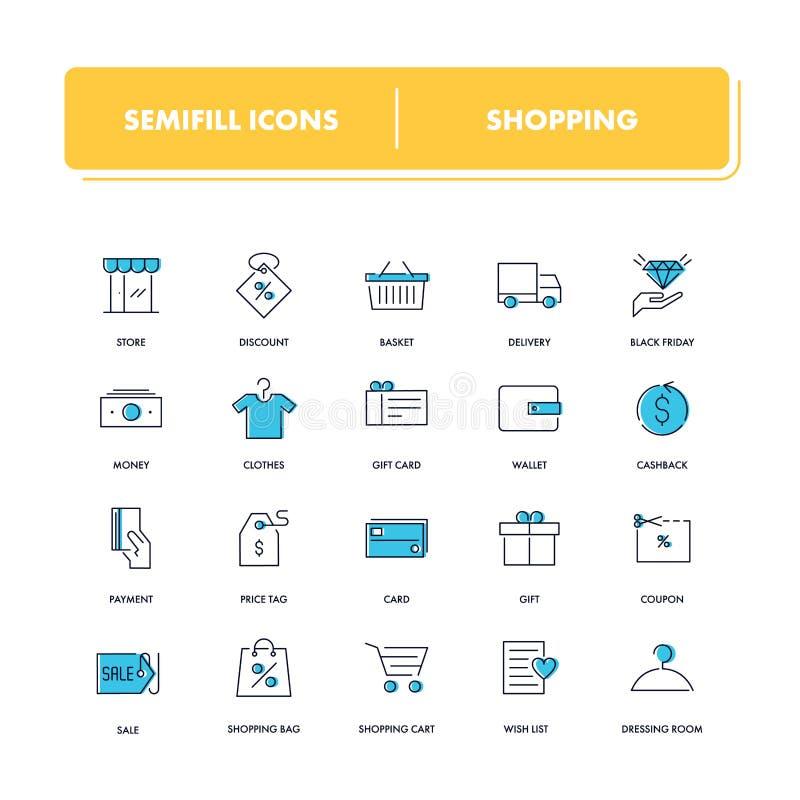 Línea iconos fijados Compras stock de ilustración