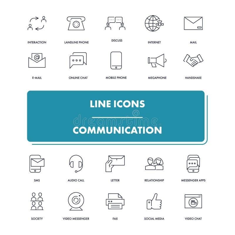 Línea iconos fijados Comunicación libre illustration