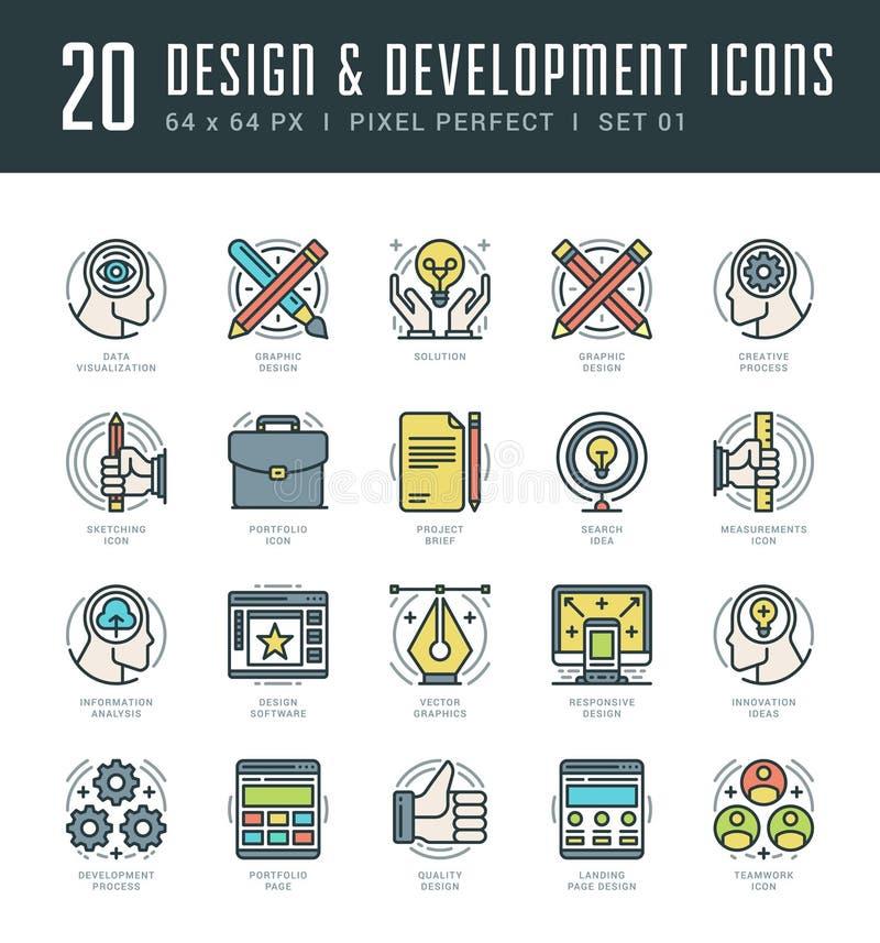 Línea iconos fijados Concepto linear fino plano moderno de moda del diseño y del desarrollo del vector del movimiento ilustración del vector