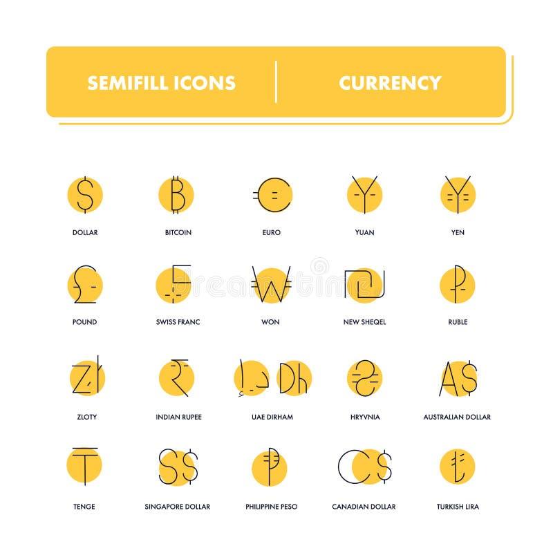 Línea iconos fijados currency ilustración del vector