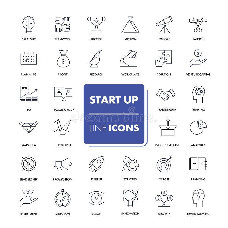 Línea iconos fijados Empiece para arriba ilustración del vector