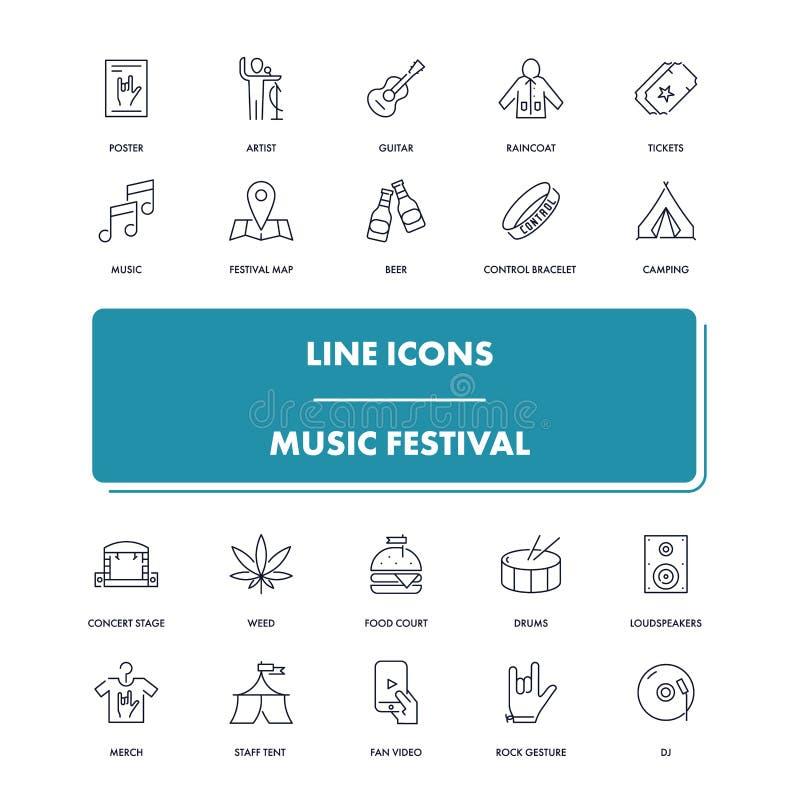 Línea iconos fijados Festival de música stock de ilustración