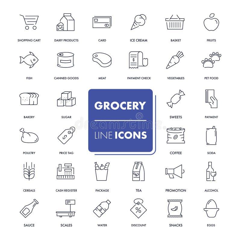 Línea iconos fijados grocery libre illustration