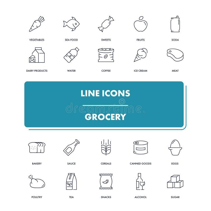 Línea iconos fijados grocery ilustración del vector