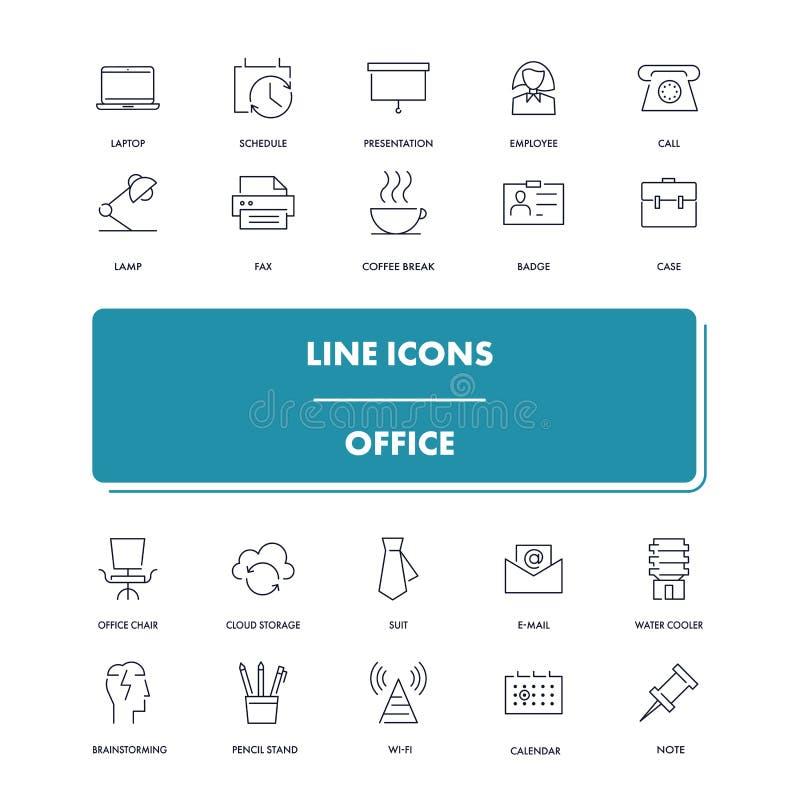 Línea iconos fijados oficina stock de ilustración