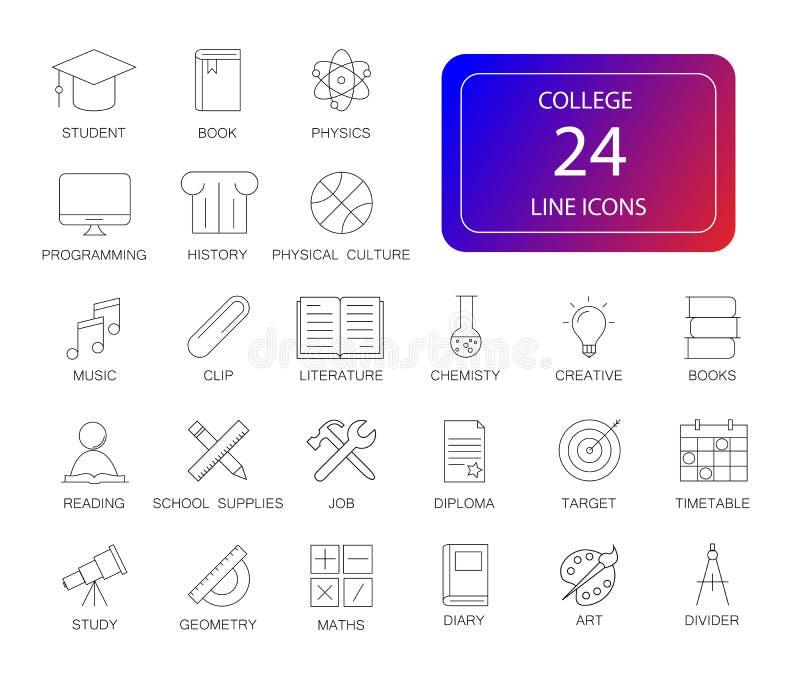 Línea iconos fijados Paquete de la universidad stock de ilustración