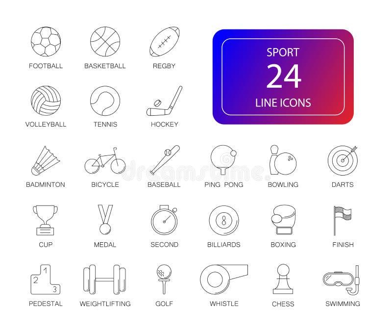 Línea iconos fijados Paquete del deporte ilustración del vector