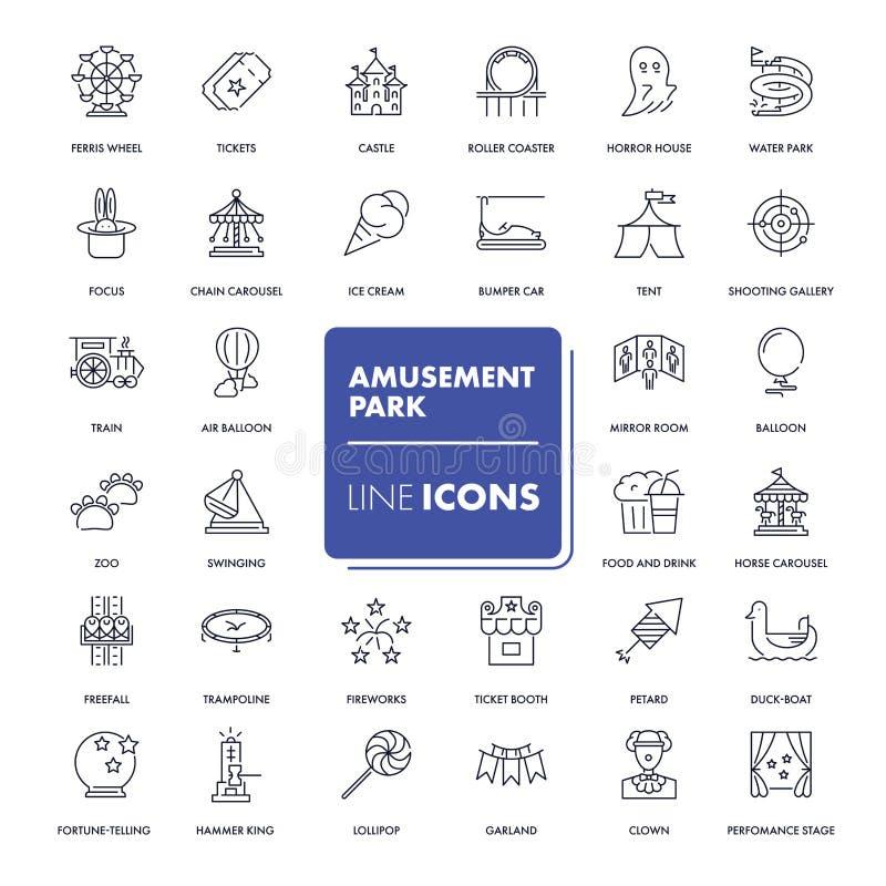 Línea iconos fijados Parque de atracciones stock de ilustración
