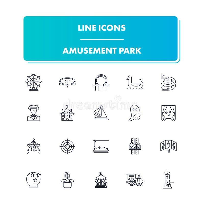 Línea iconos fijados Parque de atracciones libre illustration